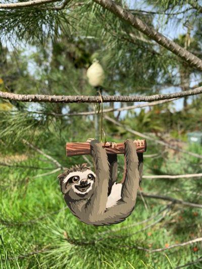 sloth wood ornament