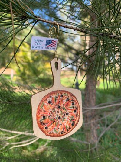 pizza wood ornament