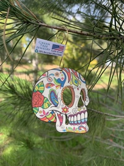 sugar skull ornament shown in 100% recycled paper