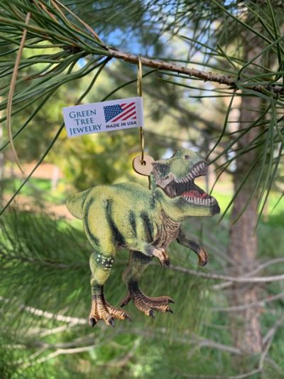 t-rex wood ornament