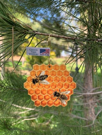 honeybee comb wood ornament