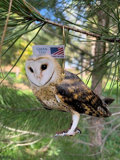 barn owl wood ornament