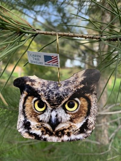 honed owl wood ornament