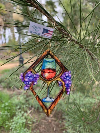 heart in wine wood ornament