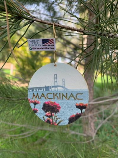 mackinac island ornament shown in 100% recycled office paper