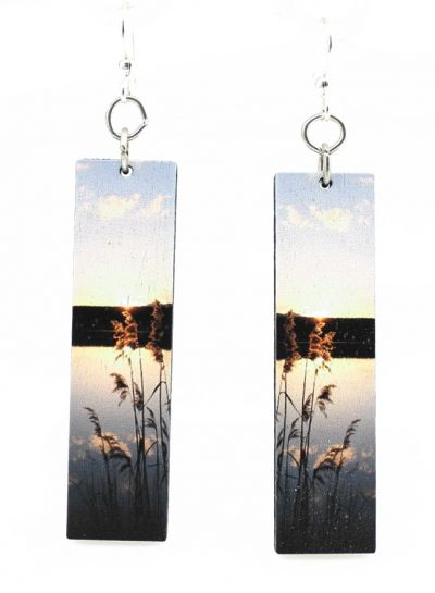 reflection wood earrings