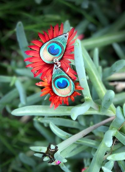 peacock feather wood earrings